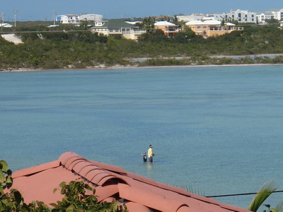 Dad and his son out in Flamingo Lake. The photo was taken from our deck at Harbour Club Villas