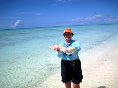 Wow..........what a beauty. Janet's first bonefish caught out at Bonefish Point on Providenciales