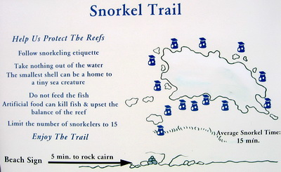 Here's a map of the snorkel trail at Smith's Reef