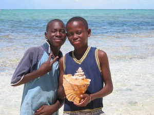 These two young local boys in Blue Hills were showing off a beautiful conch shell that they wanted to sell.