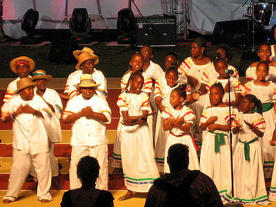 These girls and boys performed in their national dress at the Carifta Games held in Provo in 2007.