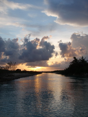 A beautiful sunset at the entrance to Discovery Bay canals and Harbour Club's Marina
