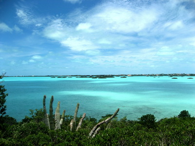 Clouds reflecting in the turquoise waters of Chalk Sound
