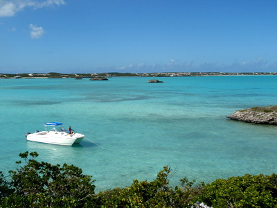 View of Five Cays shoreline from one of the tiny cays where Rock Iguanas have been introduced