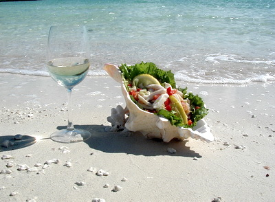 Conch salad with a chilled glass of your favourite white wine.