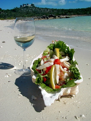 Fresh from the sea, a delicious conch salad made just for you!