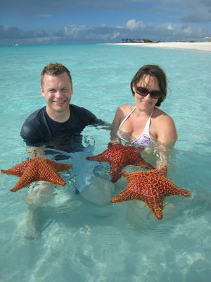 We went to Grace Bay today and were treated to seeing some beautiful Sea Stars also known as Cushion Stars very close to shore.