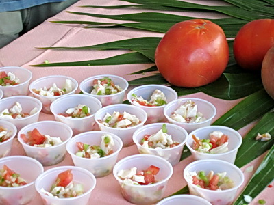 Samples of delicious conch salad were on offer at the Conch Festival this afternoon in Blue Hills.