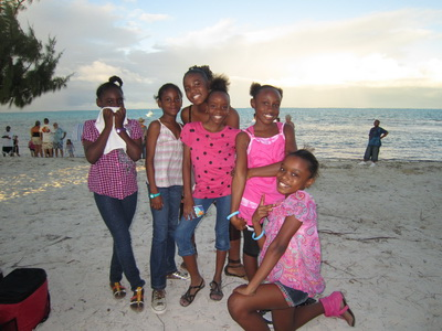 These young ladies were eager to get their photo taken on the beach during the festivities.