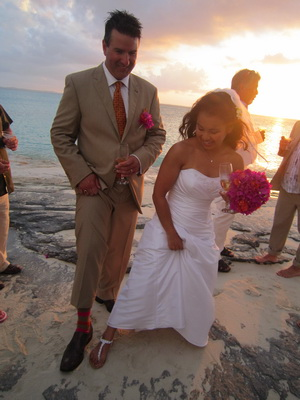Yup............Derek had striped brown, orange and fushia socks to match the wedding flowers